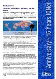 Anniversary: 15 years of IQNet – gateway to the ... - IQNet Association
