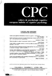 context and cognition contexte et cognition - Institut des Sciences ...