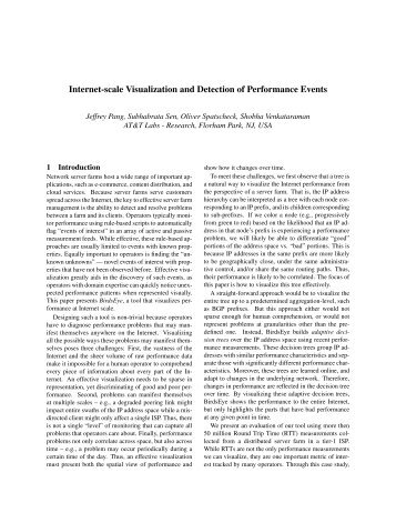 Internet-scale Visualization and Detection of Performance Events