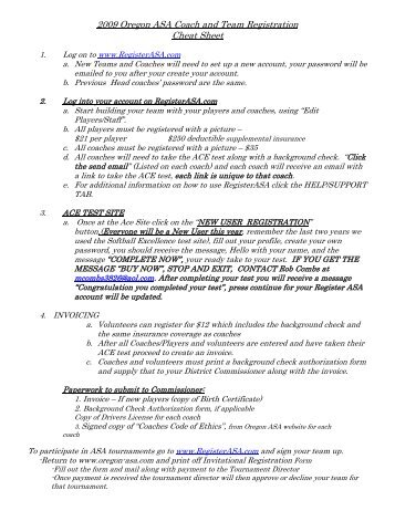 2009 Oregon ASA Coach and Team Registration Cheat Sheet