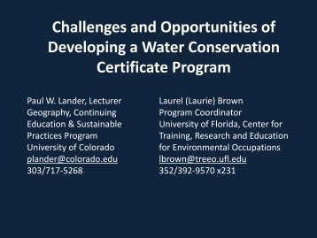 Challenges and Opportunities of Developing a Water Conservation ...