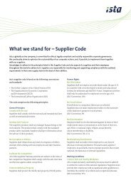 What we stand for – Supplier Code - ista