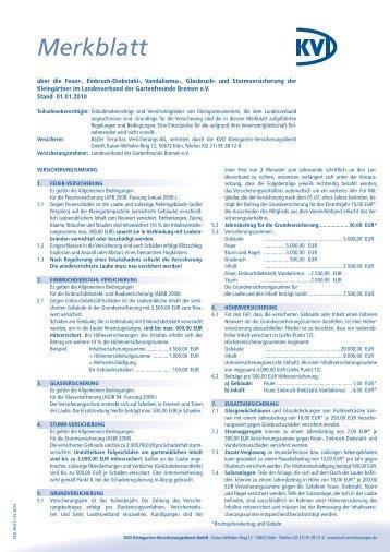 Merkblatt zur FED-Versicherung - Gartenfreunde Bremen