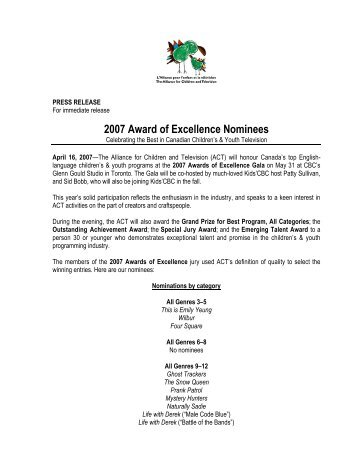 2007 Award of Excellence Nominees