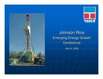 Johnson Rice - TESCO Corporation