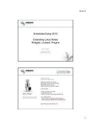 EntwicklerCamp 2012 Extending Lotus Notes Widgets, Livetext ...