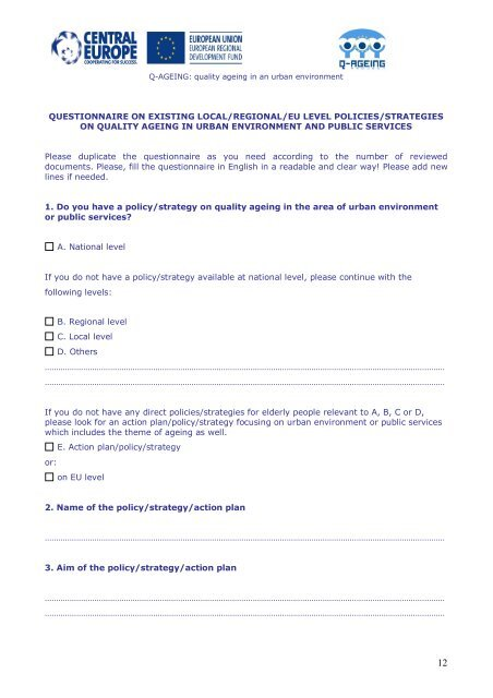 QUESTIONNAIRE best practices and existing ... - Q-AGEING project