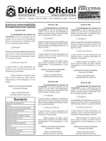 Sumário - Diário Oficial - Governo do Estado do Tocantins