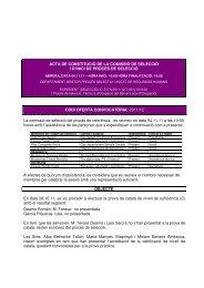 ACTA DE CONSTITUCIÓ DE LA COMISSIÓ DE SELECCIÓ I D'INICI ...