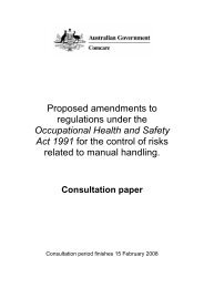 Manual Handling Consultation paper [pdf] - Comcare