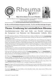 Thema: Ernährung bei entzündlichem Rheuma - in Rheuma-World
