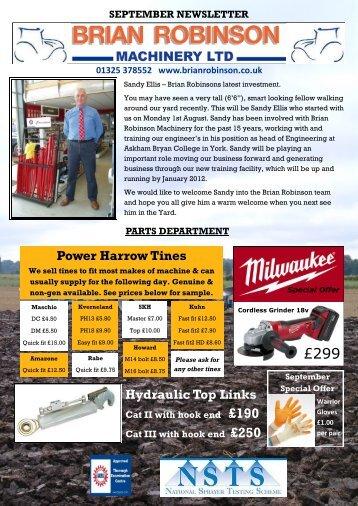 Hydraulic Top Links Power Harrow Tines - Brian Robinson ...