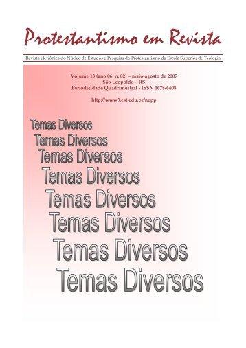 Protestantismo em Revista, volume 13 (Ano 06, n.2) - Faculdades EST