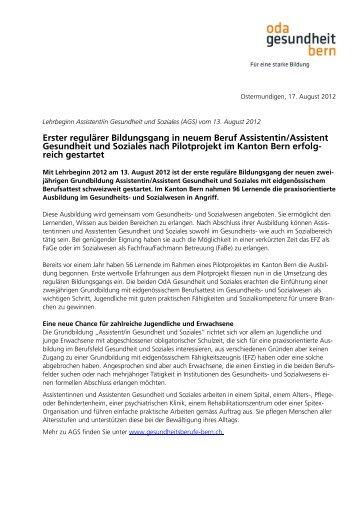 An Institutionen des Gesundheitswesens im Kanton Bern - OdA ...