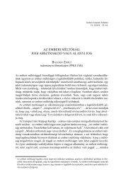 az emberi méltóság: jogi absztrakció vagy alanyi jog - IAS