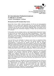 20. Internationales Filmfestival Innsbruck 31. Mai bis 5. Juni 2011