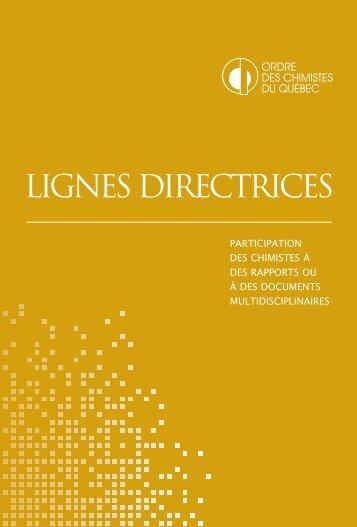 LIGNES DIRECTRICES - Ordre des chimistes du Québec