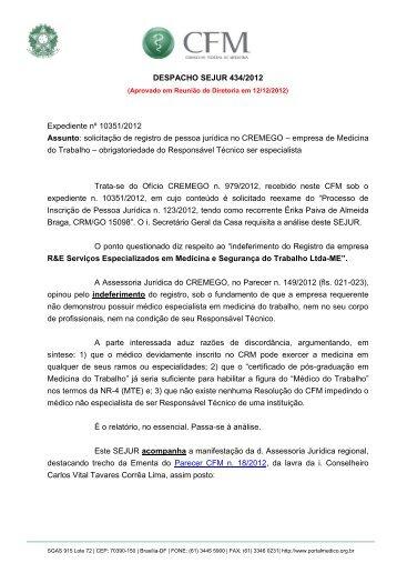 Solicitação de registro de pessoa jurídica no CREMEGO. Empresa ...