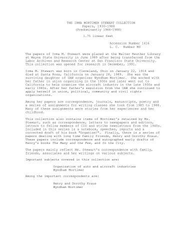 Irma Mortimer Stewar Papers - Walter P. Reuther Library - Wayne ...