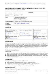 Doctor of Psychology (Clinical) - University of Southern Queensland