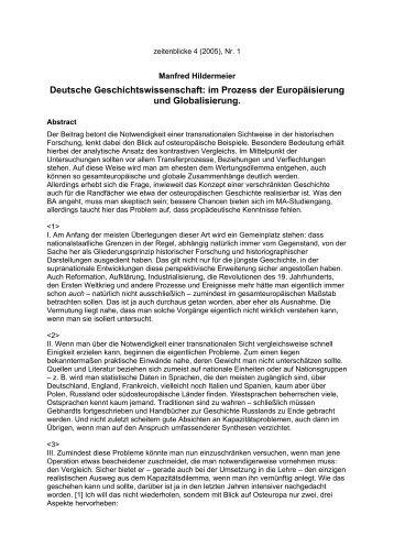Manfred Hildermeier: Deutsche ... - Zeitenblicke