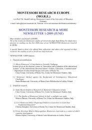 montessori research & more newsletter 1-2009 (june)