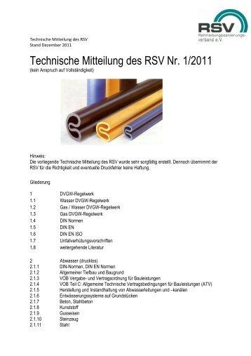 Technische Mitteilung des RSV Dezember 2011