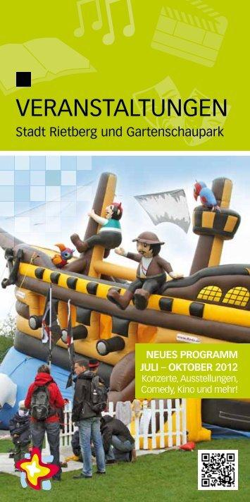 Flyer: Programm Gartenschaupark Rietberg 2012 - Stadt Rietberg