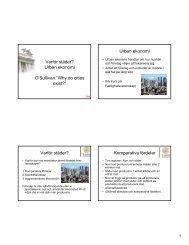 Urban ekonomi Varför städer? - Fastighetsvetenskap