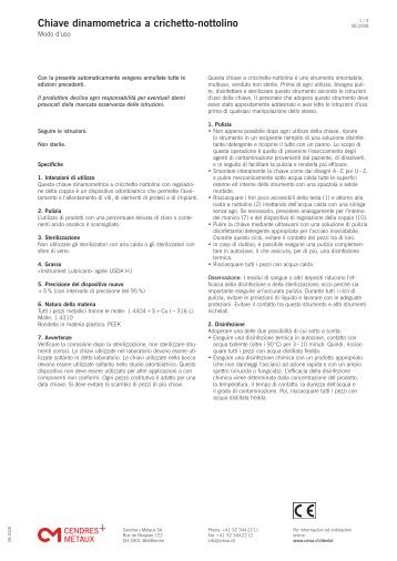 Chiave dinamometrica a crichetto-nottolino - Cendres & Métaux SA