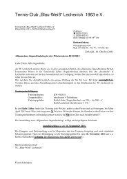 """""""Allgemeinen Jugendtraining"""" Winter 2011/2012 - Tennis-Club Blau ..."""