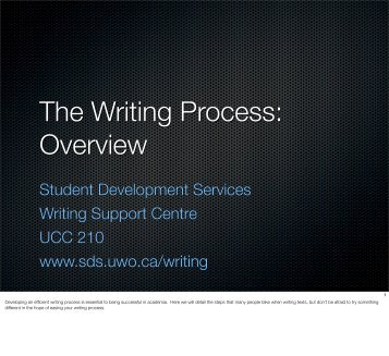 The Writing Process: Overview - Student Development Services