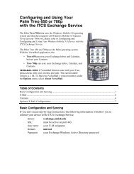 Configuring and Using Your Palm Treo 650 or 700p with the ITCS ...
