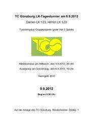 Ausschreibung - TC Lindenberg