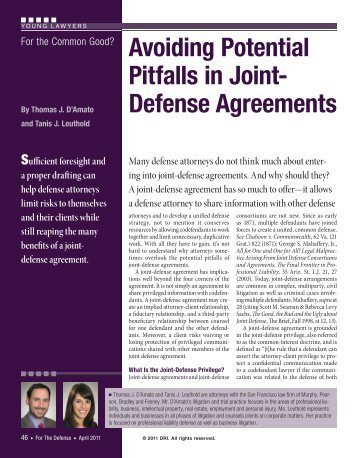 Avoiding Potential Pitfalls in Joint-Defense Agreements - Murphy ...