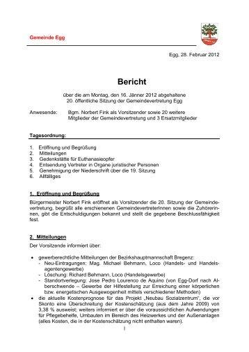 Bericht - Gemeinde Egg