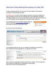 Anleitung zur Erstanmeldung mobileTAN - Volksbank Achern eG