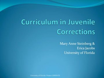 Curriculum in Juvenile Corrections - College of Education