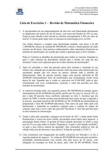 Lista de Exercícios 1 – Revisão de Matemática Financeira