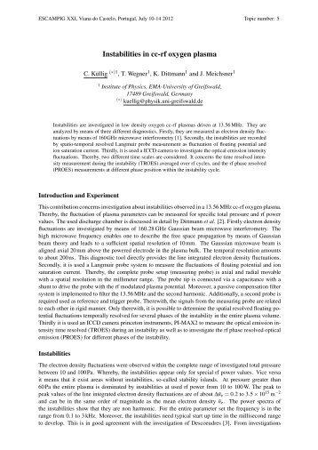 Instabilities in cc-rf oxygen plasma - escampig 2012