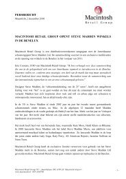 Persbericht 2 december 2010 - Macintosh Retail Group