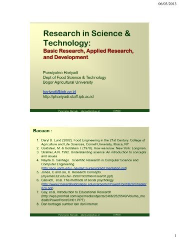 Basic and applied research - Bogor Agricultural University