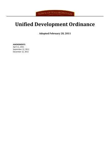 Unified Development Ordinance - Alliance for Historic Hillsborough