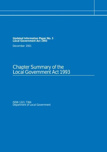 Chapter Summary of the Local Government Act 1993 - Updated ...