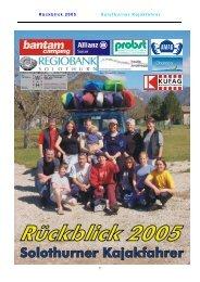 Jahresrückblick Kanuteam 2005 - Solothurner Kajakfahrer