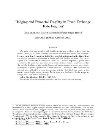 Hedging and Financial Fragility in Fixed Exchange Rate Regimes