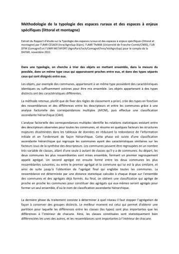 Méthodologie de la typologie des espaces ruraux et à enjeux ...