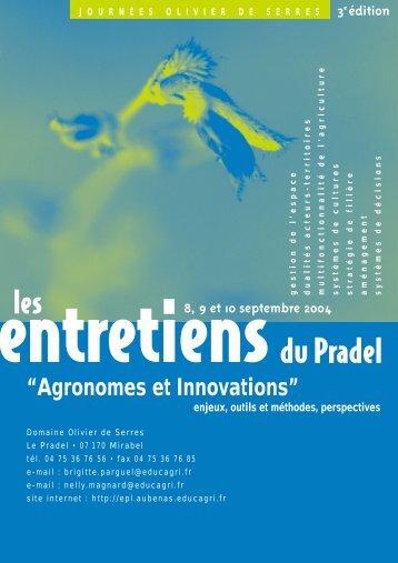 Programme des entretiens du Pradel. - PDF- 333.6 ko - Mission d ...
