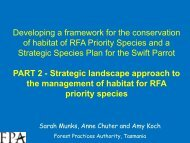 on the strategic landsccape approach to managing habitat for RFA ...