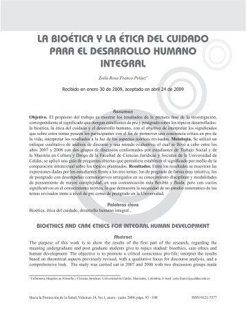 la bioética y la ética del cuidado para el desarrollo humano integral
